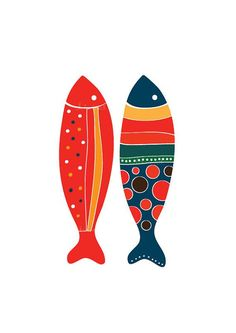Colorful Fish Art Print - Red & Navy - Illustration Art Print Animal Children decor, Kids Room, Wedding Birthday Anniversary Gifts