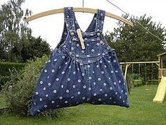 Child's overalls into clothespin bag