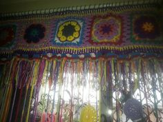 Colorful door curtain by SuziesCrochetDesigns on Etsy