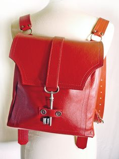 Red Leather Backpack with Antique Key  Steampunk Backpack