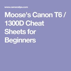 Moose's Canon (EOS Cheat Sheets for Beginners Photography Essentials, Photography Lessons, Photography For Beginners, Photography Ideas, Learn Photography, Newborn Photography, Canon Camera For Beginners, Canon Eos Rebel T6, Camera Hacks