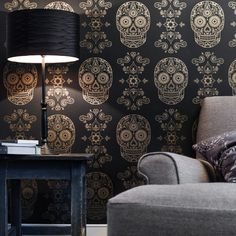 Day of the Dead Sugar Skull Wallpaper - Black & Gold | Street Anatomy Gallery Store