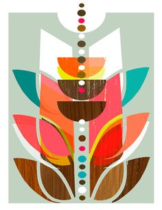 mid century print. love the wood grain and vibrant colors.