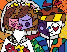 """Romero Brito Love 2010 11.5"""" x 14"""" Serigraph on gesso, limited edition of 365."""
