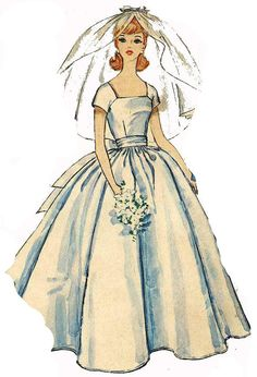 Bridal Gown PATTERN for Barbie 1960s Doll Clothes by BlondiesSpot