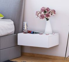 floating bedside table grey to the wall and tables. Black Bedroom Furniture Sets. Home Design Ideas