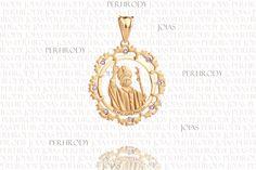 Beato João Paulo II - Pingente em ouro amarelo com brilhantes.