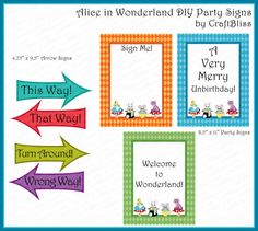 This Way! That Way! Wrong Way! Turn Around! Alice in Wonderland Party Signs by www.craftbliss.com $2.95