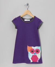 Take a look at this Purple Owl Cap-Sleeve Dress - Infant, Toddler & Girls on zulily today!