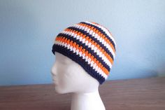 Broncos or Bears colored striped hat by LesliesStitchcraft on Etsy