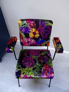 Vintage chair reupholstered in Liberty velvet from the Secret Garden collection