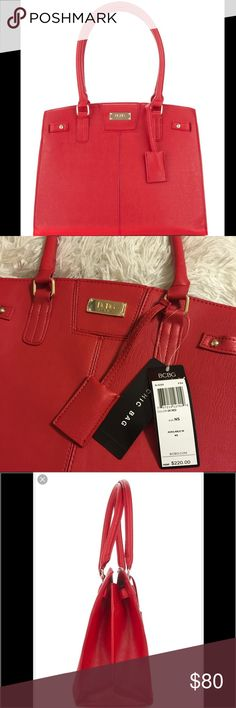 """❗️New❗️BCBG Paris Red Chic Hand Bag Tote New With Tag BCBG Paris Chic Story Tote Handbag Purse Dark Red Bag B-0099 F-34 $220 MEASURES: -Length 14"""" -Height 12""""-Depth 6""""-Handle Drop 9"""" -Golden Hardware-Brand logo Four protective feet at the bottom in gold tone Magnetic Snap Closure to secure your belongings-Man-made Interior Details:  Fully Lined With Quality Taupe fabric  Center Zip Compartment One Interior Zippered Pocket  Dual compartments Two Multifunctional Slip Pockets  Body: 100%…"""