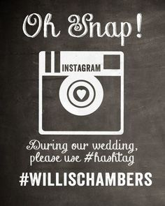 #strangedragonwedding  Chalkboard Instagram Wedding Sign by MostazaSeedGraphics on Etsy, $17.95
