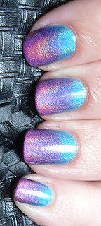 Holographic Gradient nails  The colours are: Blue = DV8, Purple = LOL, Pink = BFF