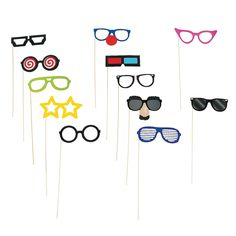Silly Glasses Photo Stick Props - OrientalTrading.com