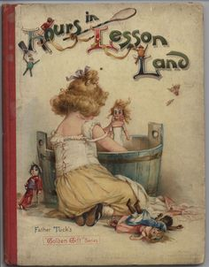 HOURS IN LESSON LAND little girl bathes dolls in wooden tub