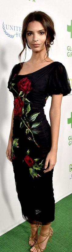 Who made Emily Ratajkowski's black ruched rose dress?