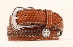 Men's Belt | Nocona Brown Leather with Cross Inserts Leather Belts, Leather Men, Brown Leather, Men's Belts, Western Belts, Leather Working, Overlays, Westerns, Copper
