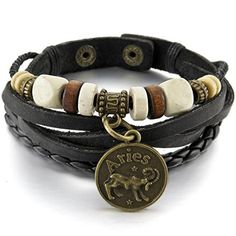 Men,Women's Alloy Genuine Leather Bracelet Bangle Cuff Black Gold Horoscope Zodiac Bead Charm Adjustable >>> You can find more details by visiting the image link.