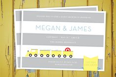 Train themed Baby Shower Invite