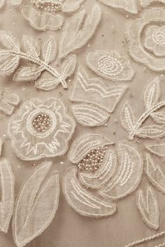 whitework - embroidery, applique, beading on tulle Embroidery Applique, Beaded Embroidery, Embroidery Patterns, Applique Fabric, Beaded Lace, Sculpture Textile, Textile Art, Textiles, Appliques Au Crochet