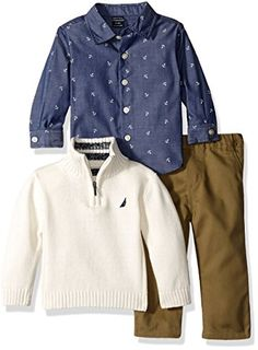 Nautica Baby Three Piece Set with Woven, Quarter Zip Sweater, Flat Front Twill Pants, Ivory, 12 Months Woven button down shirt Quarter zip sweater Four pocket pant Fully encased elastic waistband Sweater Set, Zip Sweater, Cotton Sweater, Sweater Outfits, Twill Pants, Nautical Fashion, Baby Boy Fashion, Toddler Boys, Baby Boys