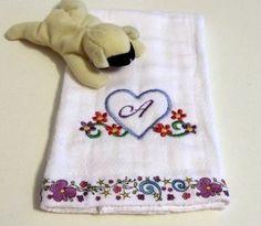 Heart Flowers Alphabet Floral Ribbon Baby Burp Cloth Bib | KallieJosCottonPatch - Childrens on ArtFire