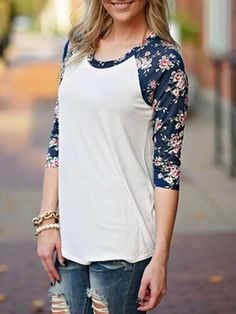 camiseta cuello redondo flor-(Sheinside)