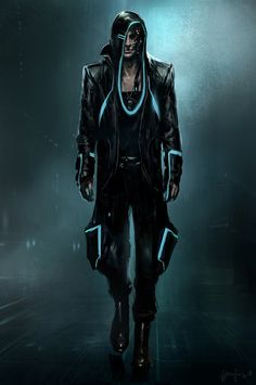 Check out Tron: Legacy concept art by Steve Jung! The costumes on the Tron sequel are legendary and one of the co-costume designers, . Arte Tron, Tron Art, Cyberpunk 2020, Cyberpunk Art, Cyberpunk Aesthetic, Robot Concept Art, Armor Concept, Character Concept, Character Art