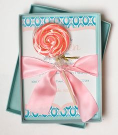 A Pool of Pink  Lollipop Luxury Boxed by whenandwhereinvites, $10.85