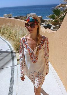 Style, Caffeinated: Beach Wear - Free People Coverup + Valentino Sunglasses + Headscarf