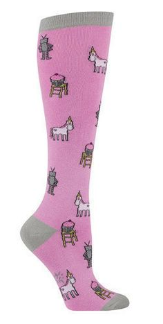 Pink knee high socks with the trifecta of cool: Unicorns, Robots, & Cupcakes! Three of my favourite things!!