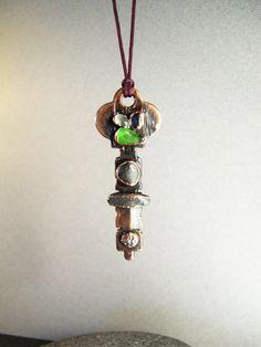 Modern art key pendant electroformed jewelry by AurumgirlStudio