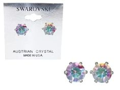 2 Carat Aurora Borealis Swarovski Crystal Stud Earrings in Sterling Silver overlay with Heart-Shaped Gift Box Silver Moon Bay