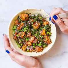 Quinoa, sweet potato, pea and kale bowl - Madeleine Shaw