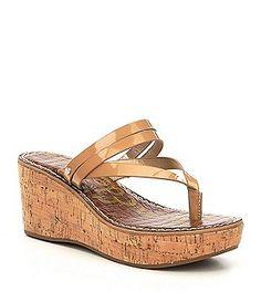 fc6994f48e5f Sam Edelman Rasha Patent Leather Thong Wedge Sandals Boat Shoes