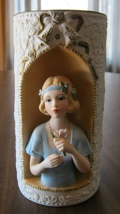 Vintage Vase with Lady In Blue by VintageandSheek on Etsy