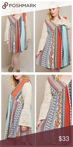 Multi-Color Dress With Lace Sleeves Dress is loose and flowy, with mixed colors of deep orange, light blue, black, and cream. Runs a little big, I would go one size down. Dresses