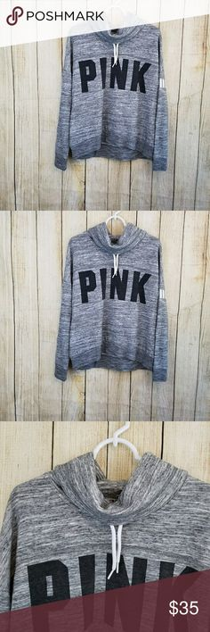 "Victoria secret pink cowl neck sweatshirt Vs pink  gray , black and white cowl neck sweatshirt.  Size medium, in like new condition . 60% cotton, 40% polyester.   Measurements armpit to armpit to 25"" length 25"" sleeve length 18"" Tops Sweatshirts & Hoodies"