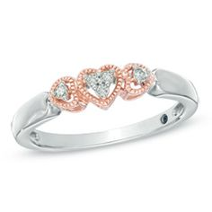 Diamond Accent Triple Heart Promise Ring in Sterling Silver and 10K Rose Gold - Size 6