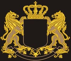 lion in the crown - Machine Embroidery Design - tested Machine Embroidery Applique, Machine Embroidery Patterns, Embroidery Ideas, Family Crest Symbols, Identity Design, Logo Design, Luxury Logo, Gold Work, Crests