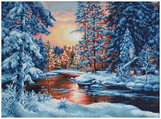 B477 Paisaje de invierno €48.00  Kit completo de punto de cruz Marca: Luca-S Hilos: Anchor Tela Aida: Zweigart Medidas: 51*36,5cm Colores: 37