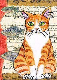 Original Mixed Media ACEO, Artist Trading Card, ATC, collage art, Cat Artwork, Acrylic Painting