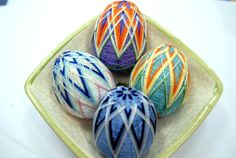 Easter Temari Egg 4 colours to choose by smARTfunDECor on Etsy, $22.00