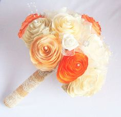 Rustic Gold, ivory, champagne and burnt orange paper Peony bouquet, Burlap and lace bouquet, Shabby chic Bouquet, Burnt orange Toss bouquet
