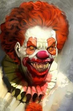 evil creepy vampire zombie clown with wavy orange hair, blood dripping down clown  clothes outfit, *is it just me or does this guy remind you of Carrot top? the skateboard guy,