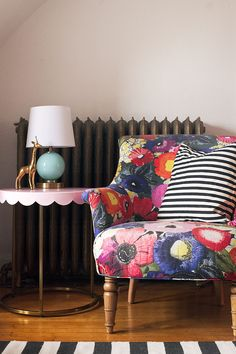 Colorful Chair, Striped Pillow, and Pink #TargetStyle #Pillowfort Scalloped Side Table #sponsor @TargetStyle