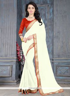Precise splendor comes out as a result of the dressing style and design with this off white weight less casual saree. This pretty attire is displaying some unbelievable embroidery done with lace work....