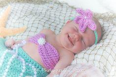 Baby Mermaid Tail, Bikini Top, and Headband-Three Piece Photo Prop. $45.00, via Etsy.