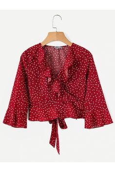 SHEIN offers Ruffle Trim Crop Wrap Blouse & more to fit your fashionable needs. Red Fashion, Fashion Outfits, Cream T Shirts, Unique Style, Vetement Fashion, Spring Shirts, Wrap Blouse, Ruffle Blouse, Ruffle Trim